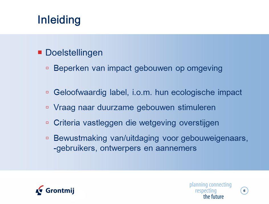 Inleiding Doelstellingen Beperken van impact gebouwen op omgeving