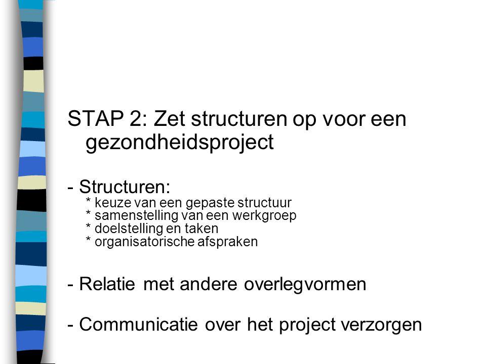 STAP 2: Zet structuren op voor een gezondheidsproject