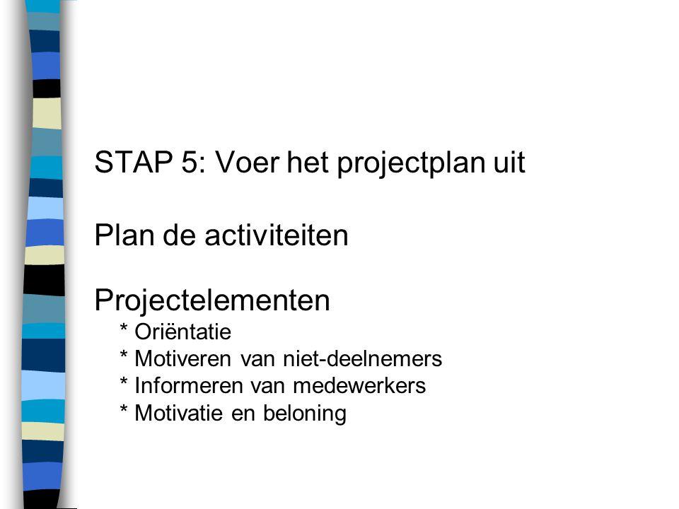 STAP 5: Voer het projectplan uit Plan de activiteiten Projectelementen