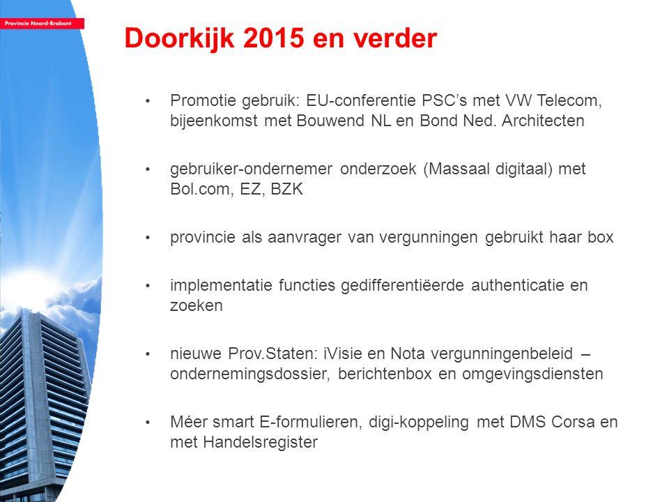 Doorkijk 2015 en verder Promotie gebruik: EU-conferentie PSC's met VW Telecom, bijeenkomst met Bouwend NL en Bond Ned. Architecten.