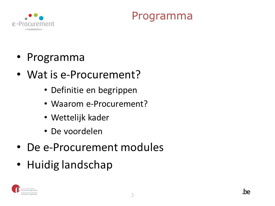De e-Procurement modules Huidig landschap