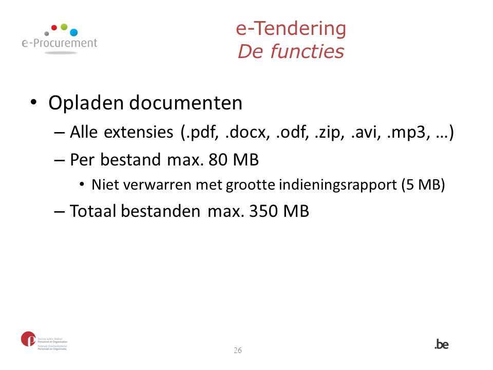 e-Tendering De functies