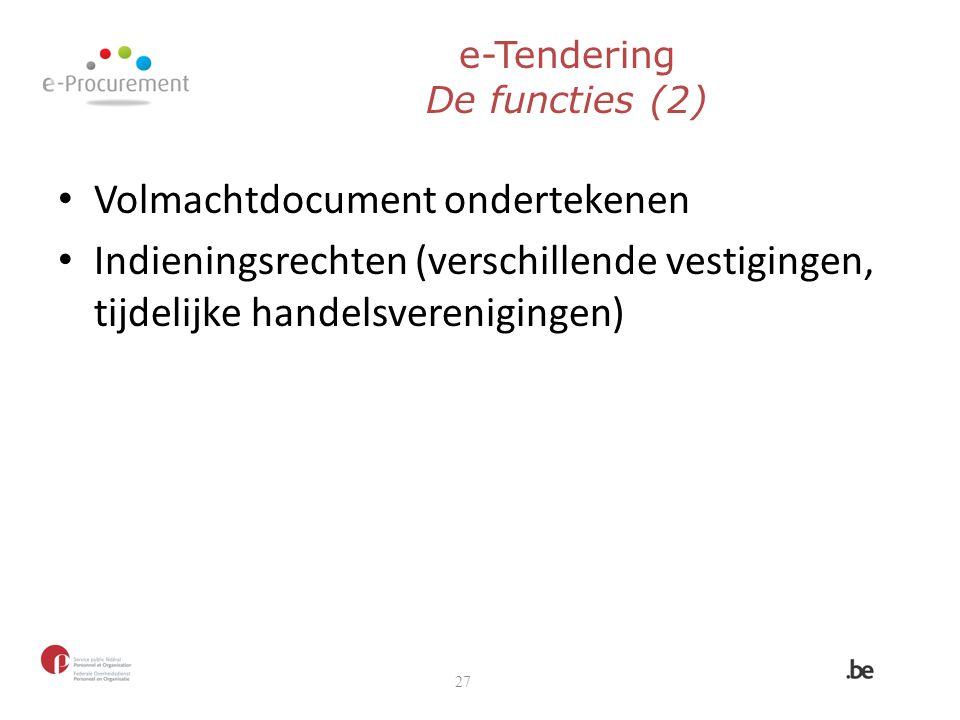 e-Tendering De functies (2)