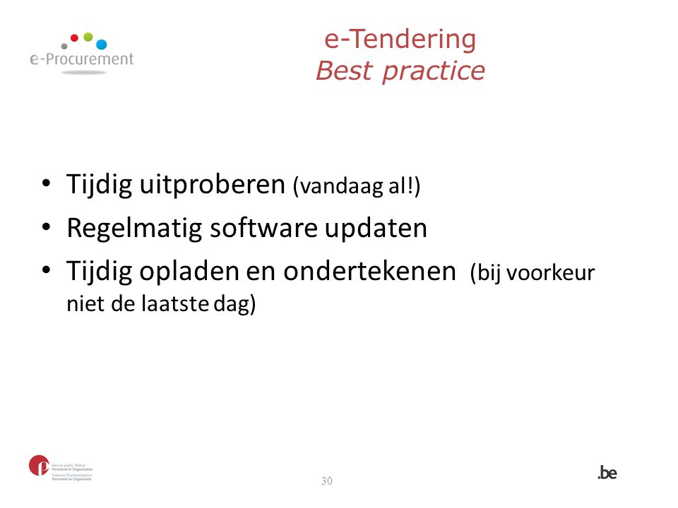 e-Tendering Best practice
