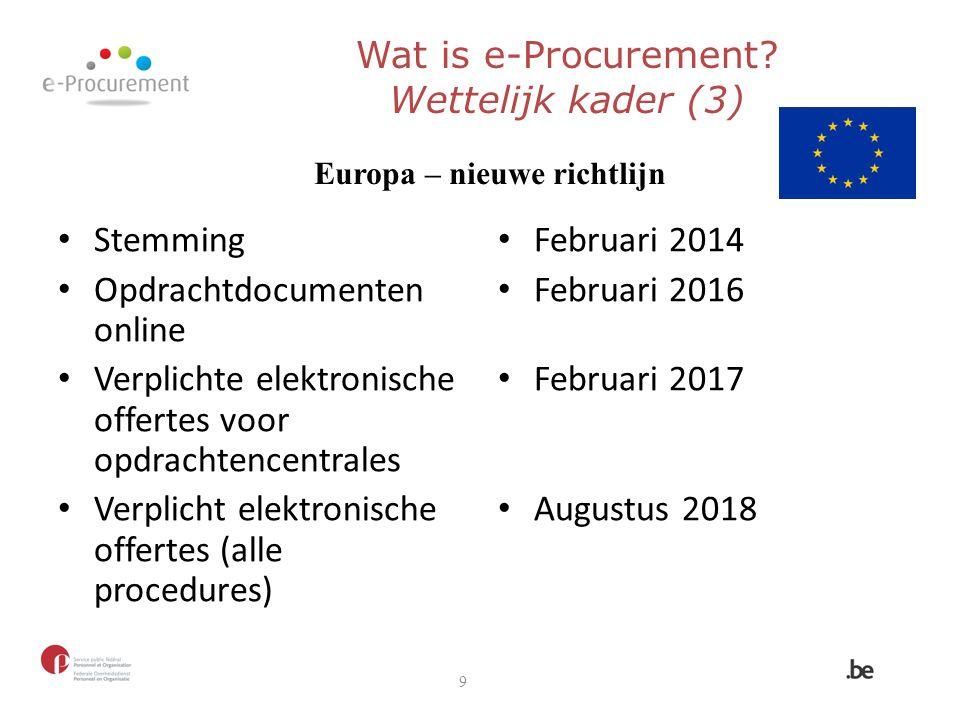Wat is e-Procurement Wettelijk kader (3)