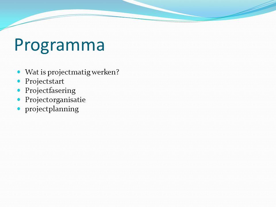 Programma Wat is projectmatig werken Projectstart Projectfasering