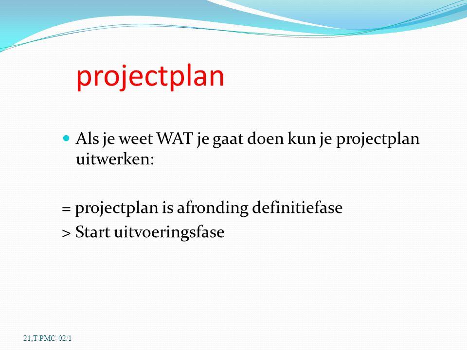 projectplan Als je weet WAT je gaat doen kun je projectplan uitwerken: