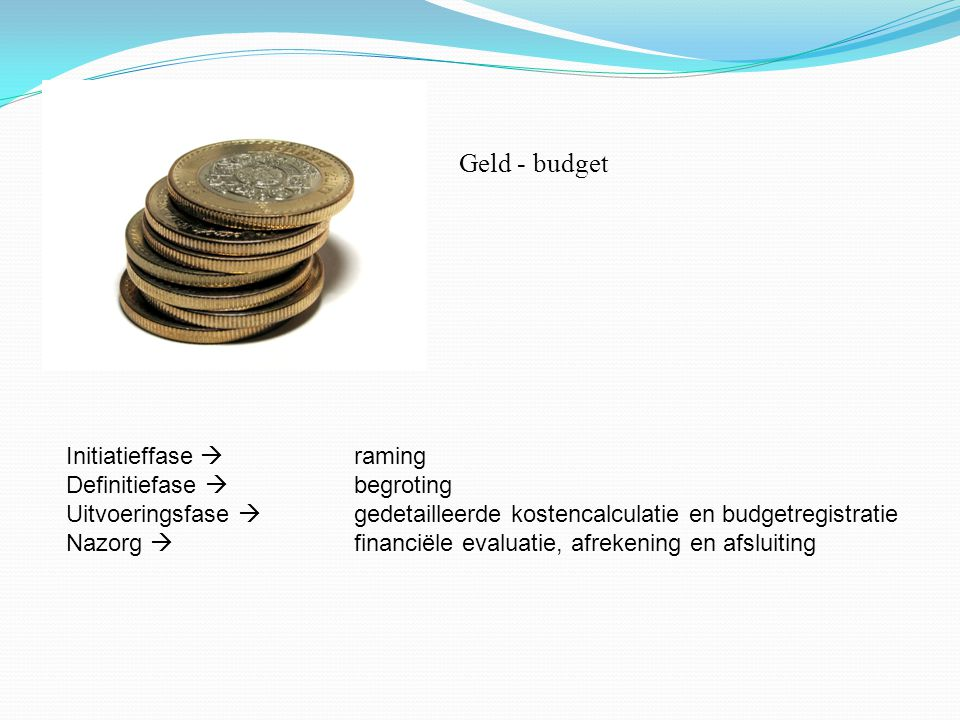 GELD Geld - budget Initiatieffase  raming Definitiefase  begroting