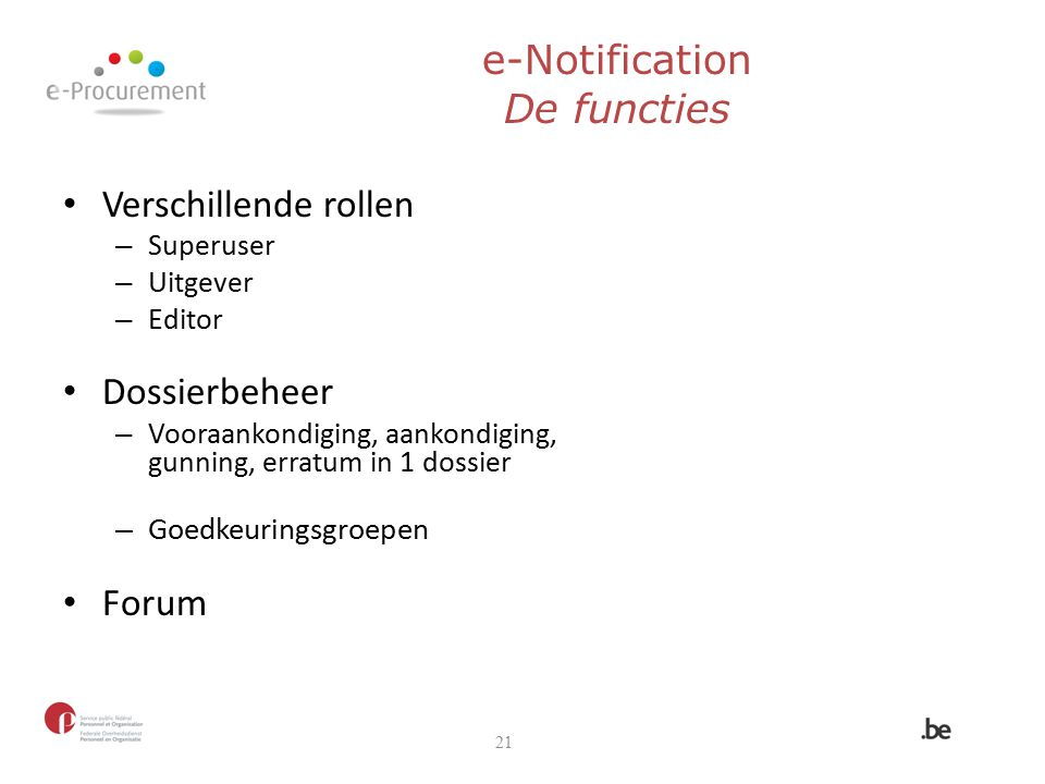 e-Notification De functies
