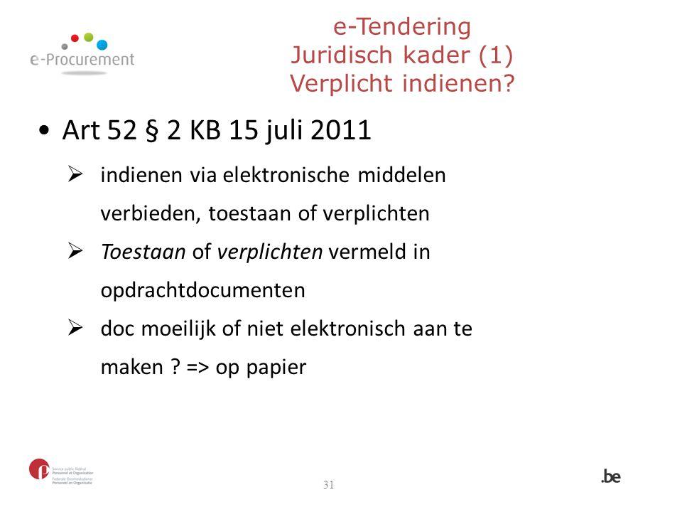 e-Tendering Juridisch kader (1) Verplicht indienen