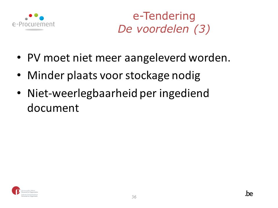 e-Tendering De voordelen (3)