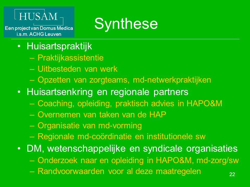Synthese Huisartspraktijk Huisartsenkring en regionale partners