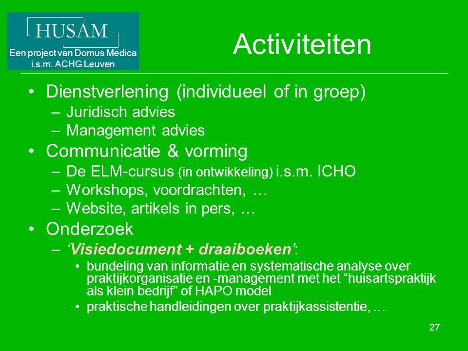 Activiteiten Dienstverlening (individueel of in groep)