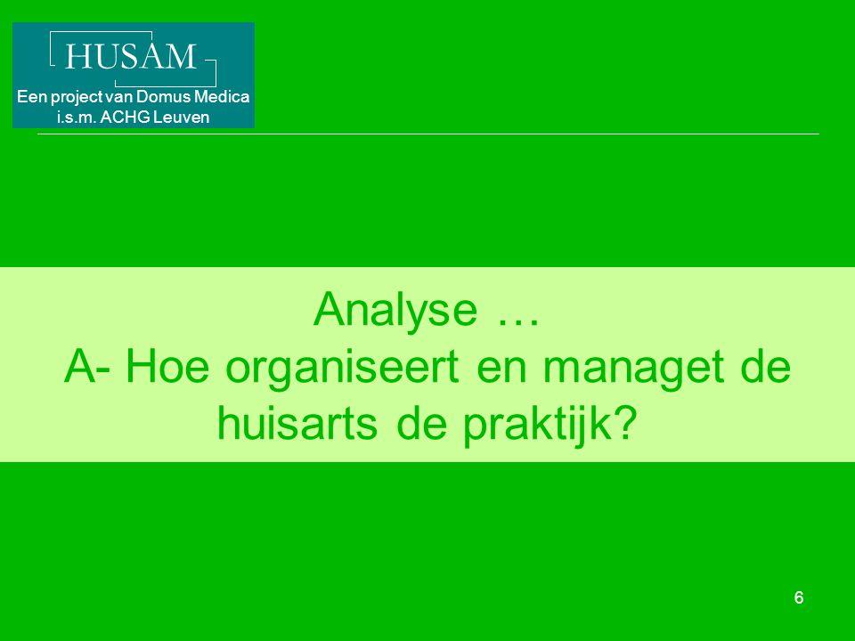 Analyse … A- Hoe organiseert en managet de huisarts de praktijk