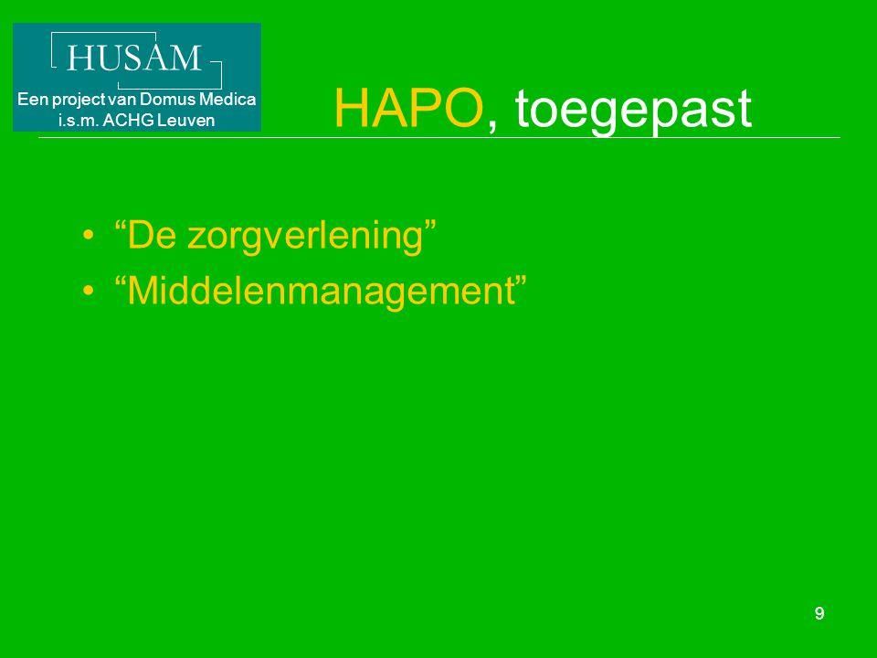 HAPO, toegepast De zorgverlening Middelenmanagement