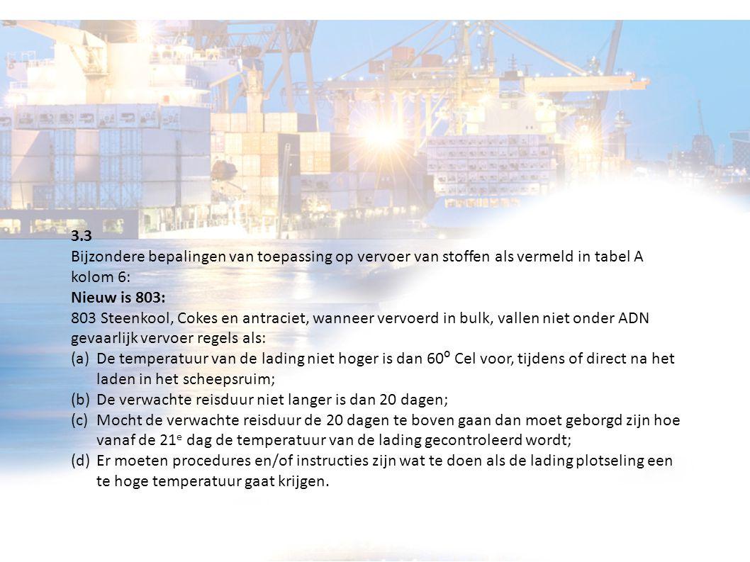 3.3 Bijzondere bepalingen van toepassing op vervoer van stoffen als vermeld in tabel A kolom 6: Nieuw is 803: