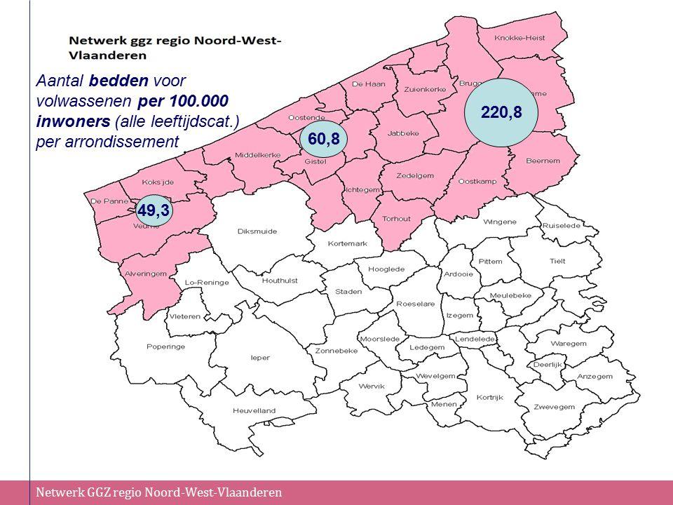 Aantal bedden voor volwassenen per 100.000 inwoners (alle leeftijdscat.) per arrondissement