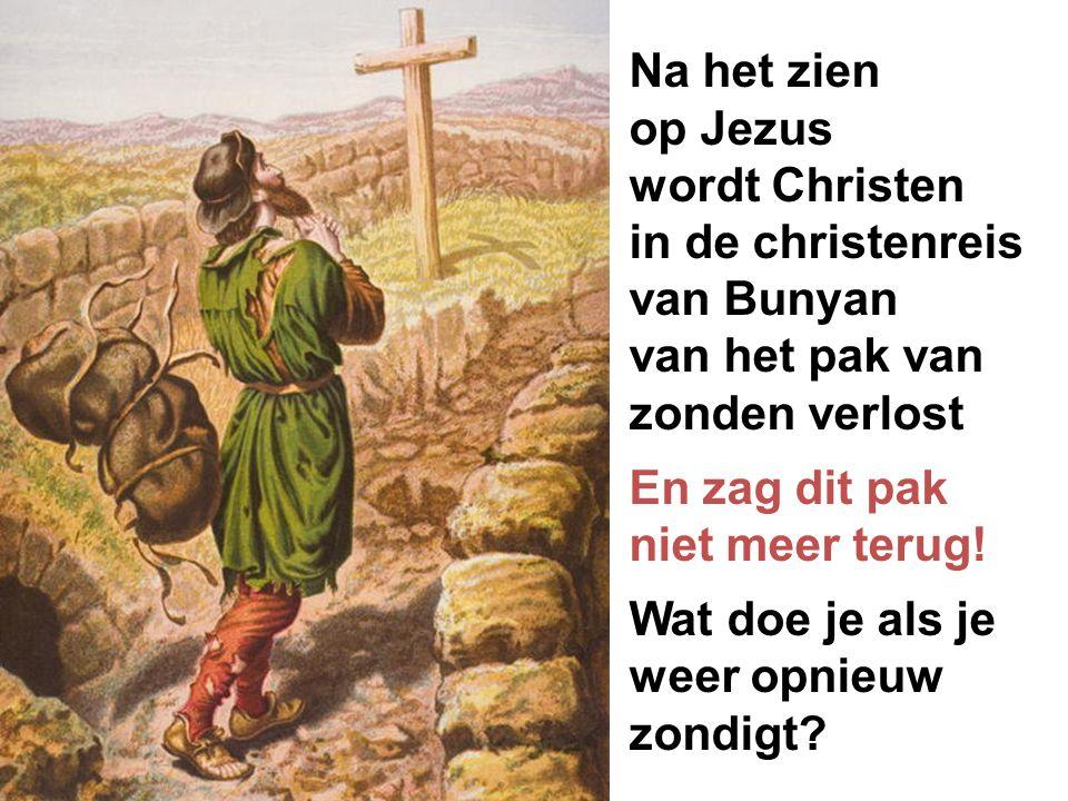 Na het zien op Jezus. wordt Christen. in de christenreis. van Bunyan. van het pak van zonden verlost.