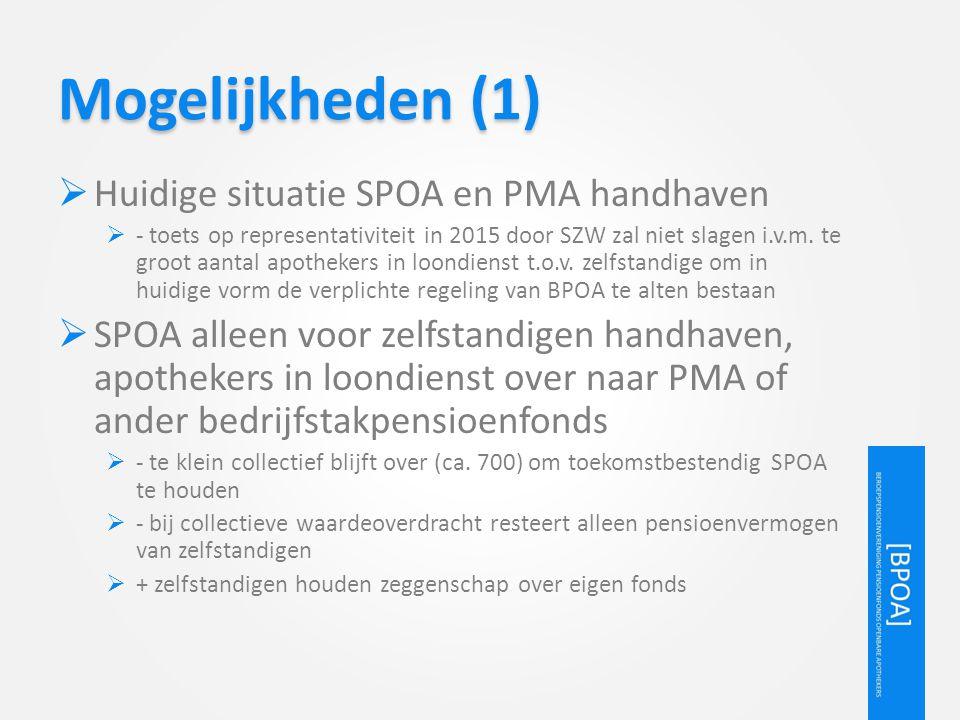 Mogelijkheden (1) Huidige situatie SPOA en PMA handhaven