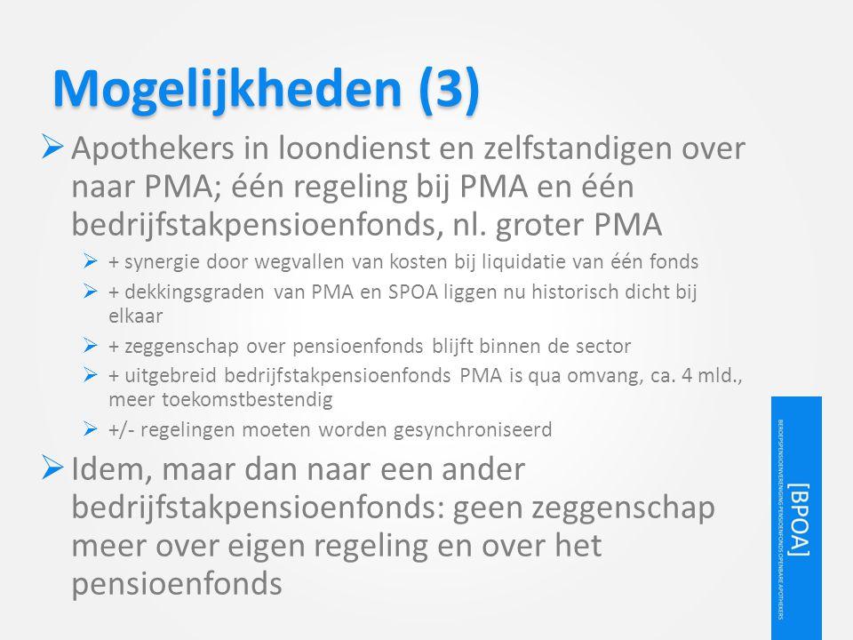 Mogelijkheden (3) Apothekers in loondienst en zelfstandigen over naar PMA; één regeling bij PMA en één bedrijfstakpensioenfonds, nl. groter PMA.