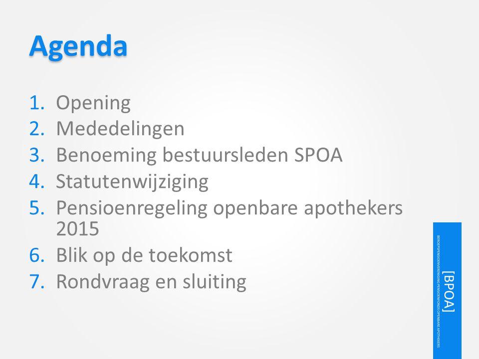 Agenda Opening Mededelingen Benoeming bestuursleden SPOA