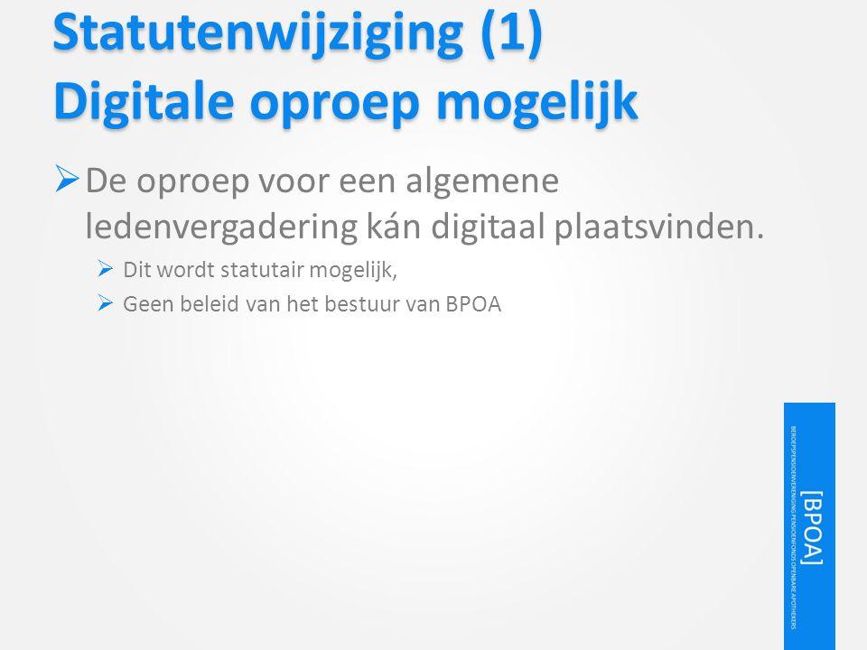 Statutenwijziging (1) Digitale oproep mogelijk