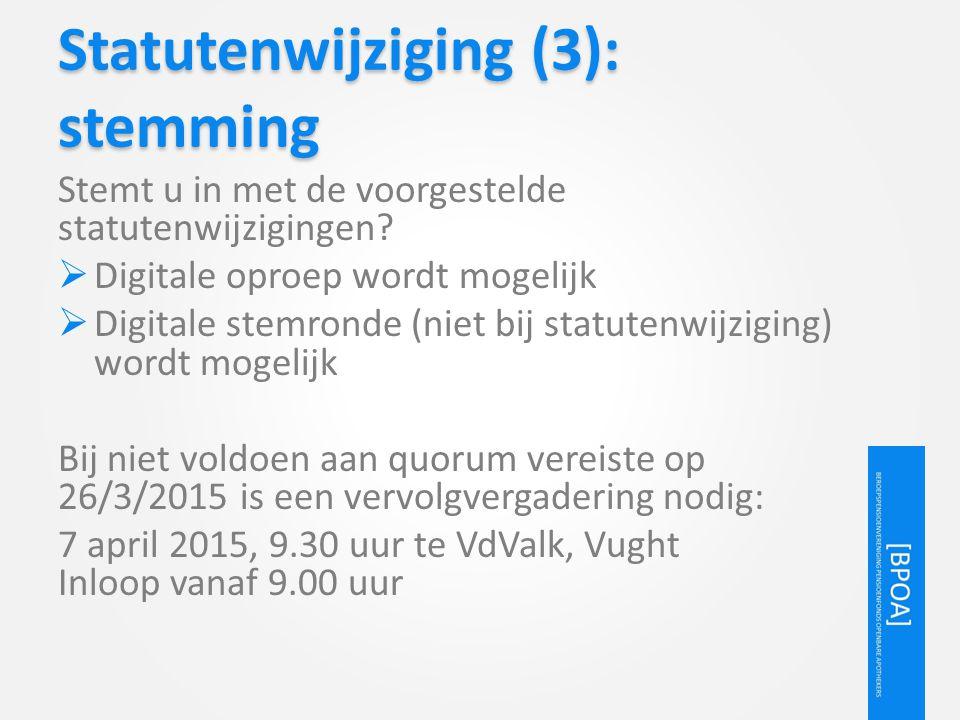 Statutenwijziging (3): stemming