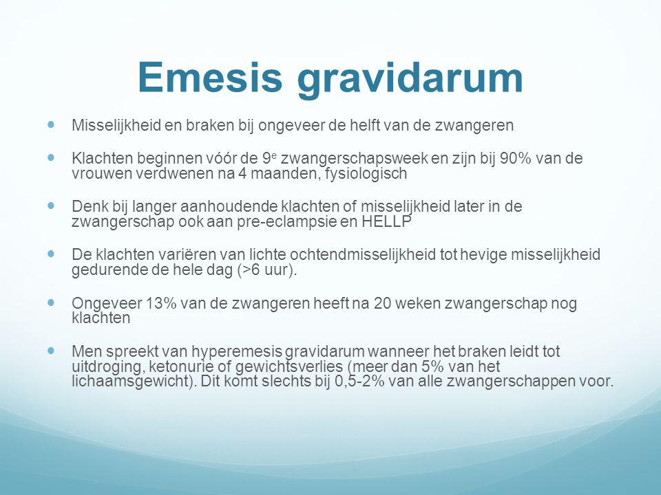 Emesis gravidarum Misselijkheid en braken bij ongeveer de helft van de zwangeren.