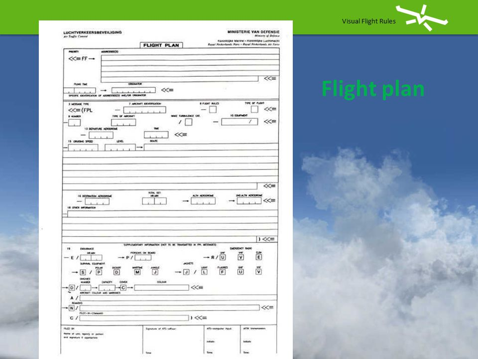 Visual Flight Rules Flight plan