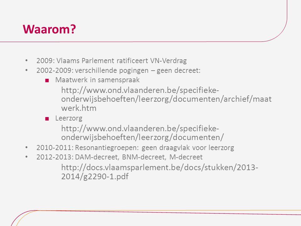Waarom 2009: Vlaams Parlement ratificeert VN-Verdrag. 2002-2009: verschillende pogingen – geen decreet:
