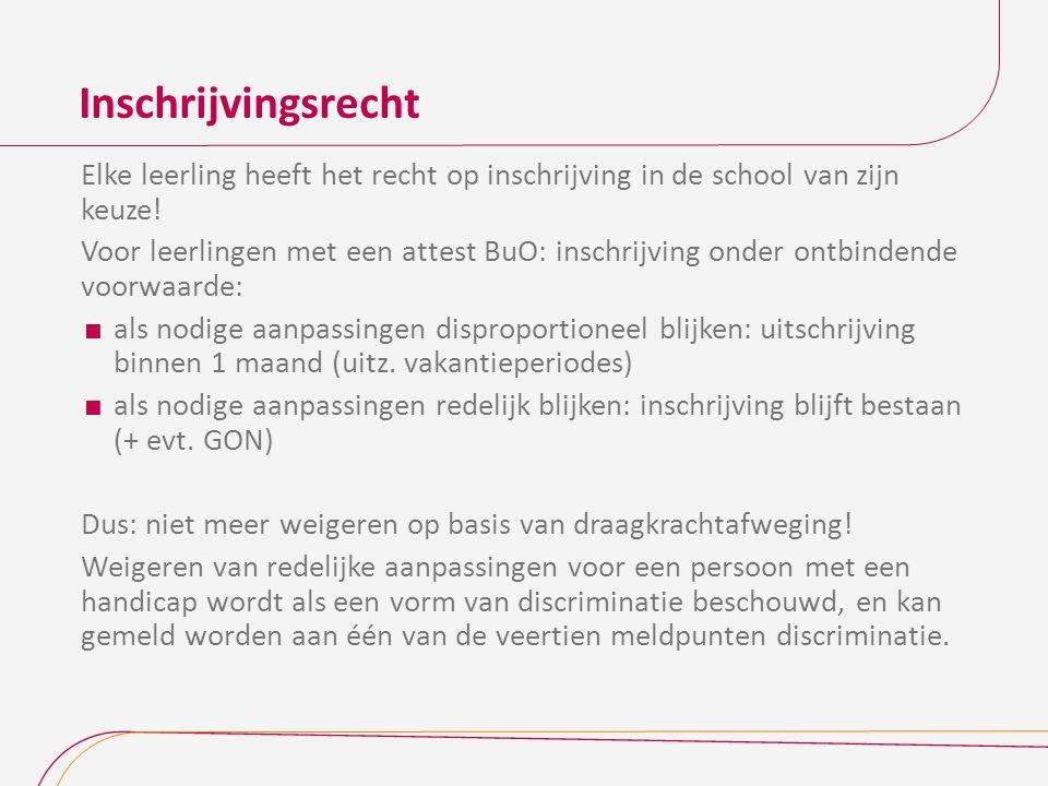 Inschrijvingsrecht Elke leerling heeft het recht op inschrijving in de school van zijn keuze!