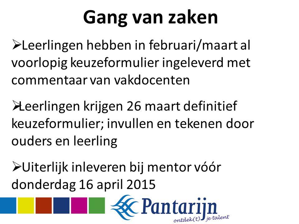 Gang van zaken Leerlingen hebben in februari/maart al voorlopig keuzeformulier ingeleverd met commentaar van vakdocenten.