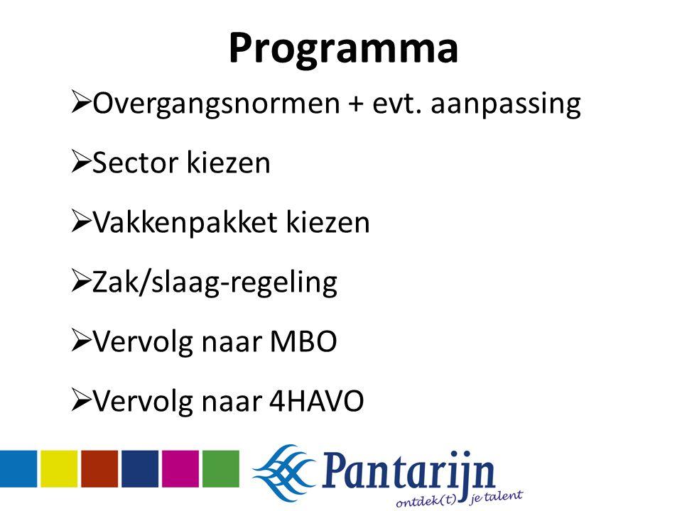 Programma Overgangsnormen + evt. aanpassing Sector kiezen