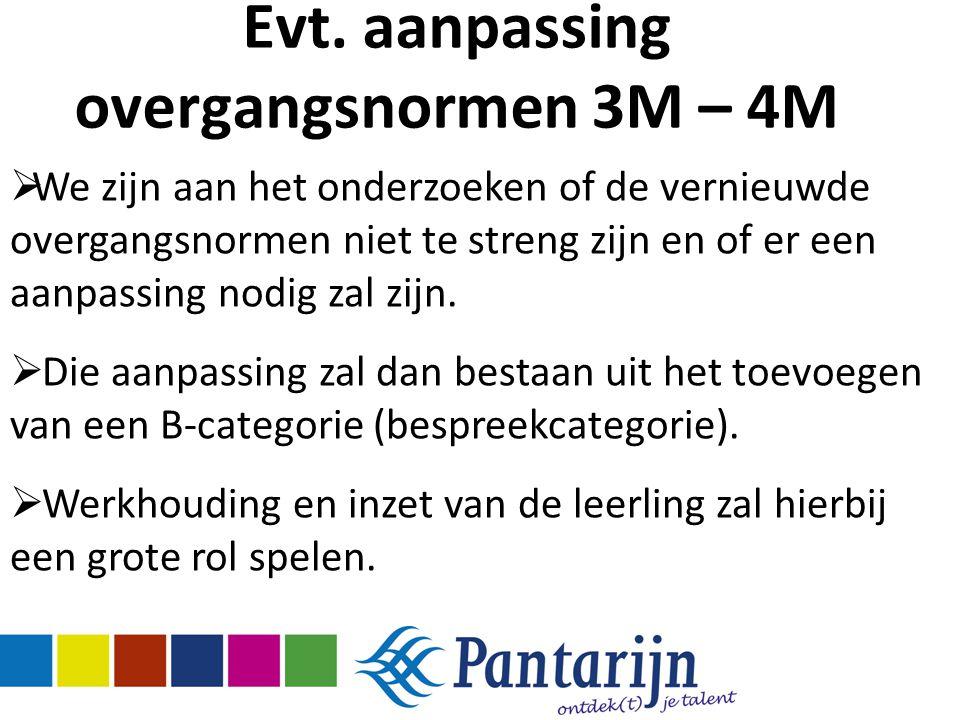Evt. aanpassing overgangsnormen 3M – 4M