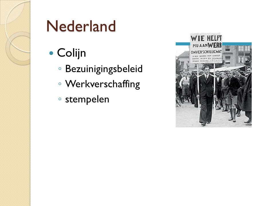 Nederland Colijn Bezuinigingsbeleid Werkverschaffing stempelen