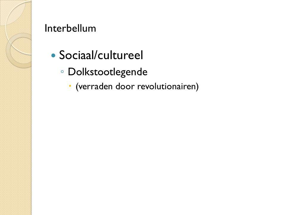 Sociaal/cultureel Interbellum Dolkstootlegende