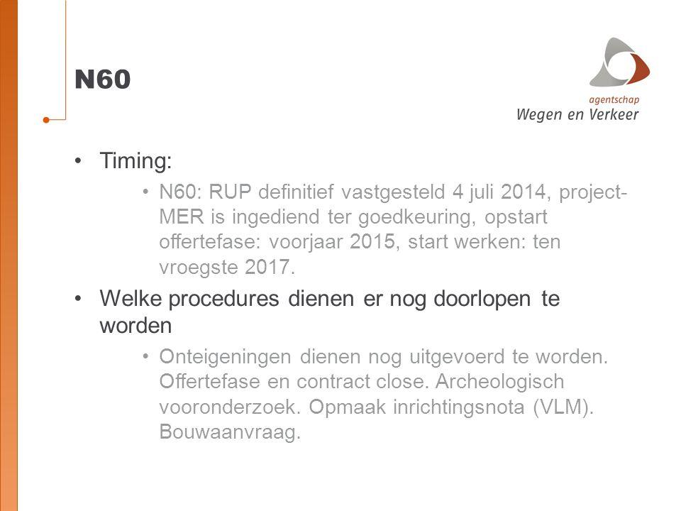 N60 Timing: Welke procedures dienen er nog doorlopen te worden