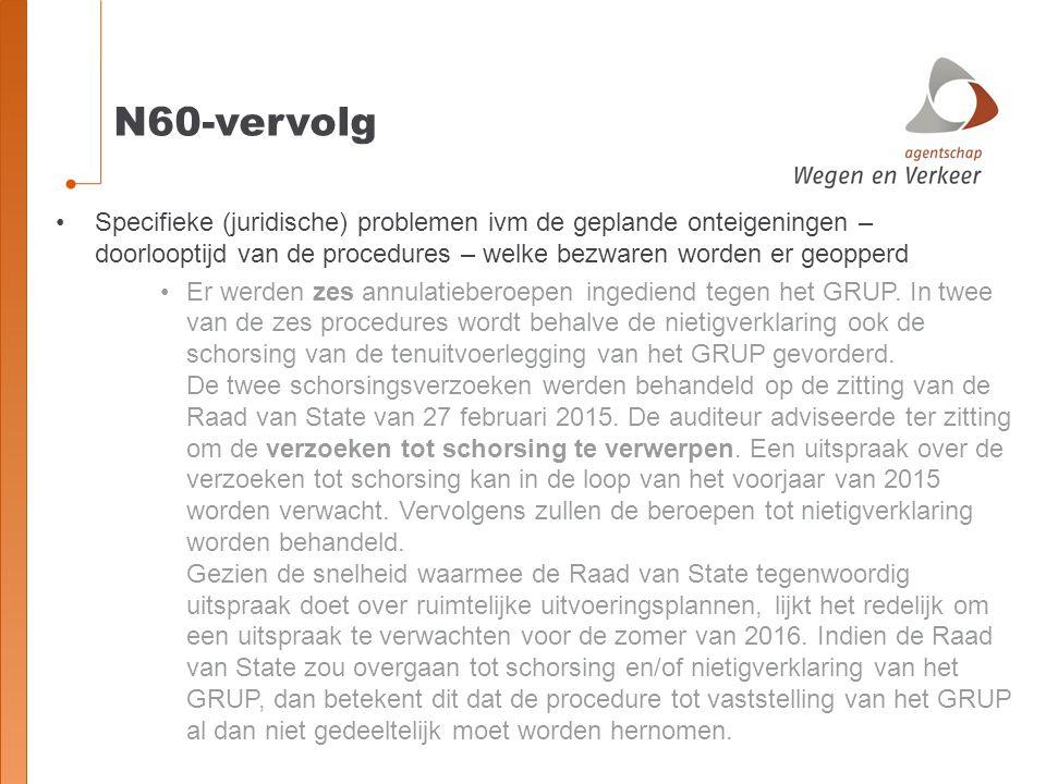 N60-vervolg Specifieke (juridische) problemen ivm de geplande onteigeningen – doorlooptijd van de procedures – welke bezwaren worden er geopperd.