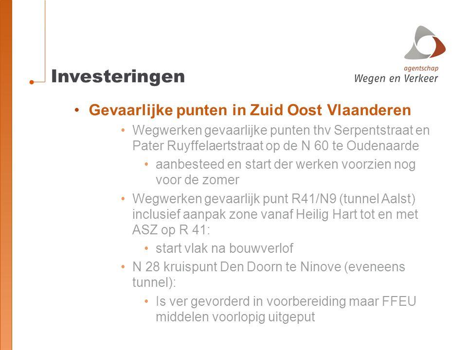 Investeringen Gevaarlijke punten in Zuid Oost Vlaanderen