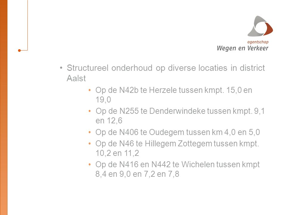 Structureel onderhoud op diverse locaties in district Aalst