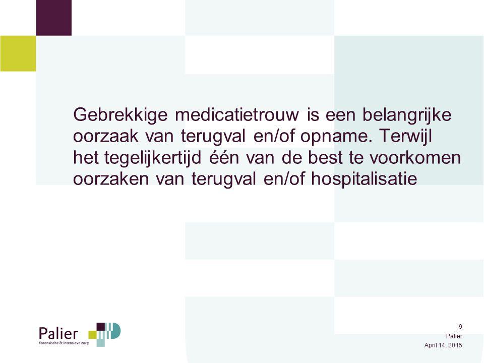Gebrekkige medicatietrouw is een belangrijke oorzaak van terugval en/of opname. Terwijl het tegelijkertijd één van de best te voorkomen oorzaken van terugval en/of hospitalisatie