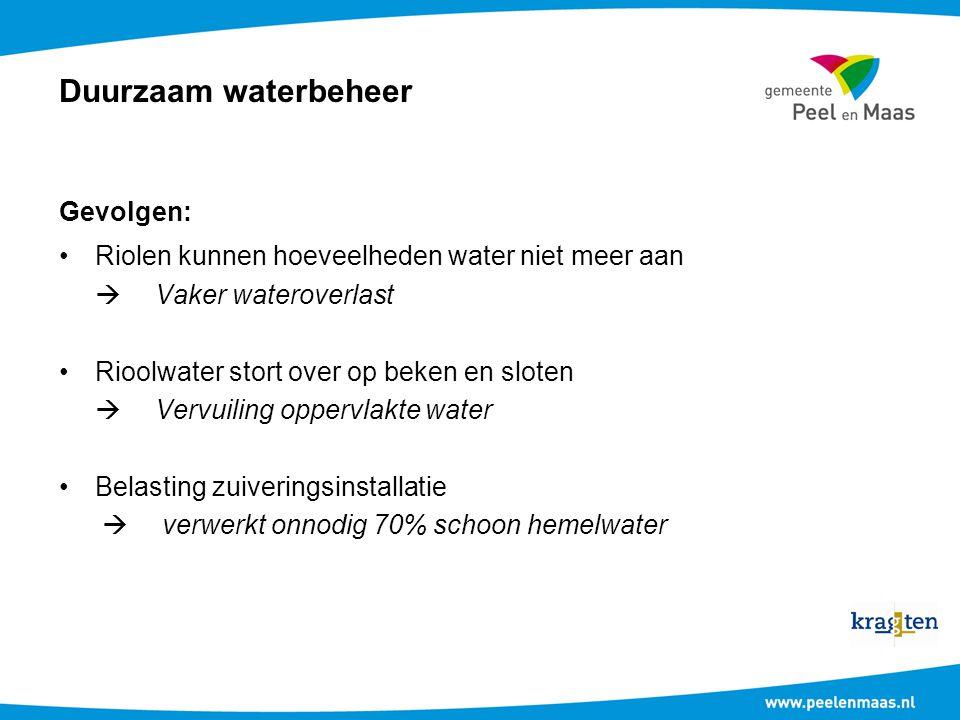 Duurzaam waterbeheer Gevolgen: