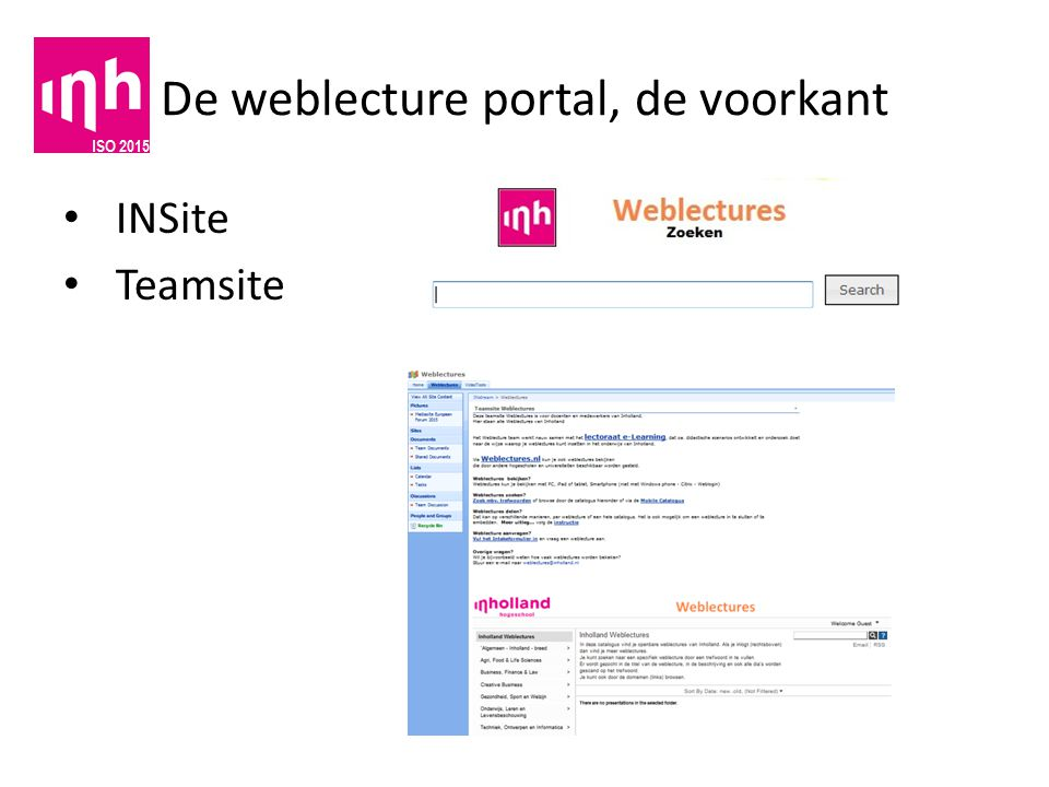 De weblecture portal, de voorkant