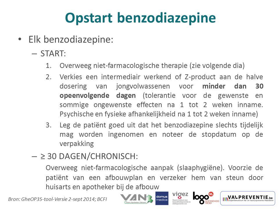 Opstart benzodiazepine