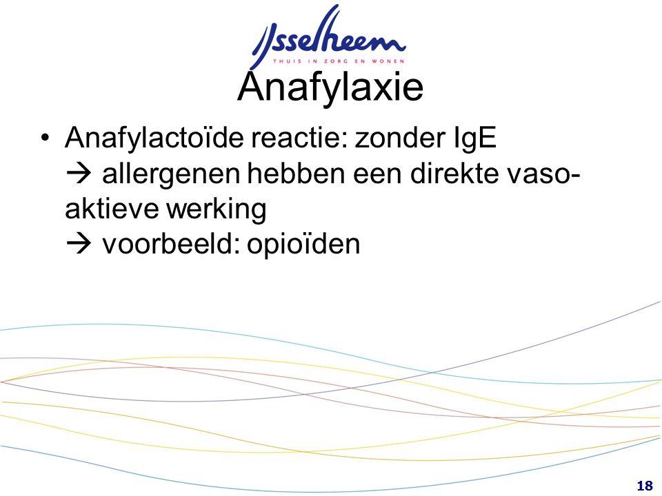 Anafylaxie Anafylactoïde reactie: zonder IgE  allergenen hebben een direkte vaso-aktieve werking  voorbeeld: opioïden.