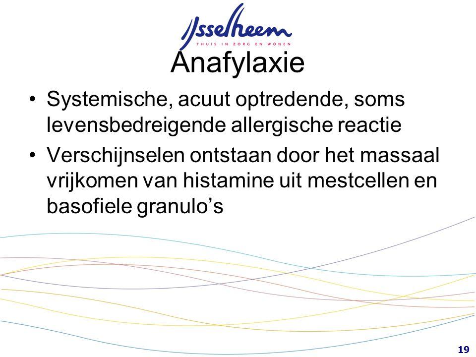 Anafylaxie Systemische, acuut optredende, soms levensbedreigende allergische reactie.