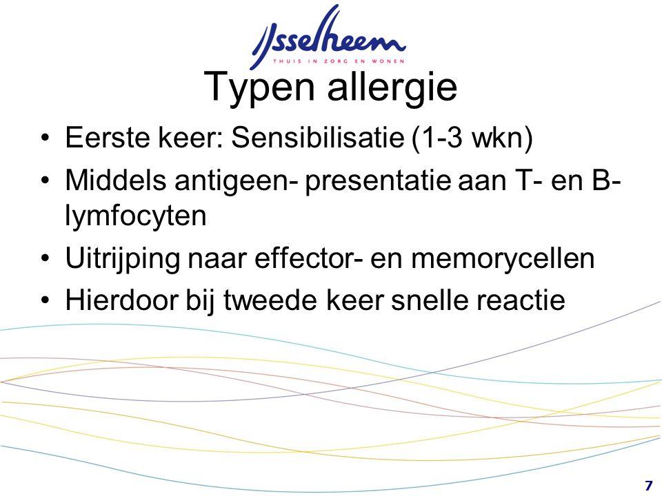 Typen allergie Eerste keer: Sensibilisatie (1-3 wkn)