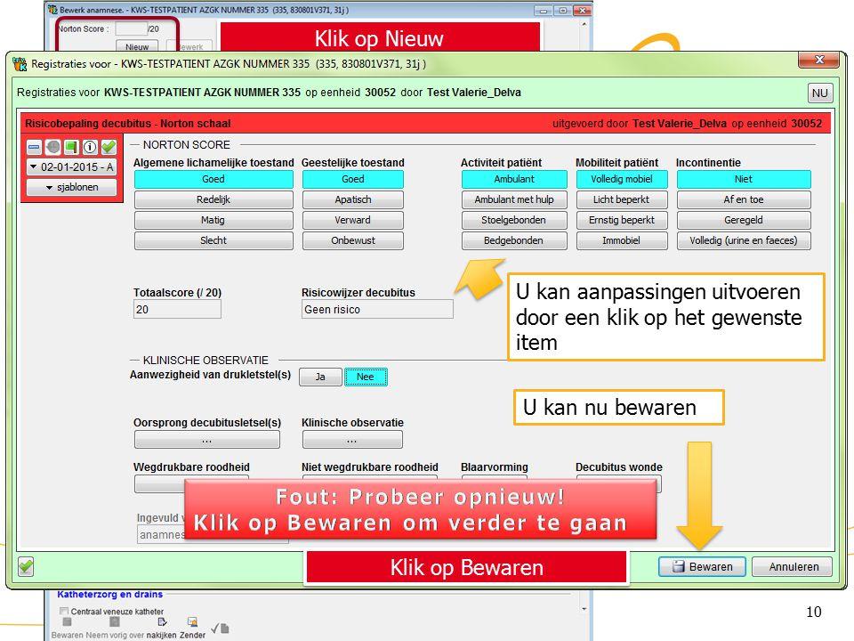 KWS: lint/ Anamnese (2) Klik op Nieuw