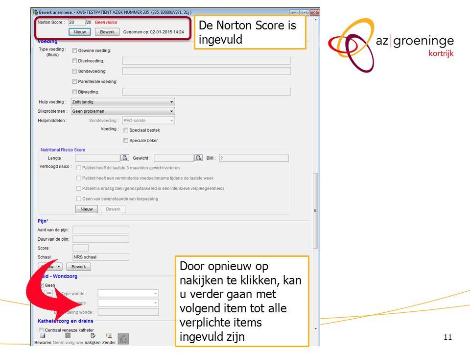 KWS: lint/ Anamnese (3) De Norton Score is ingevuld
