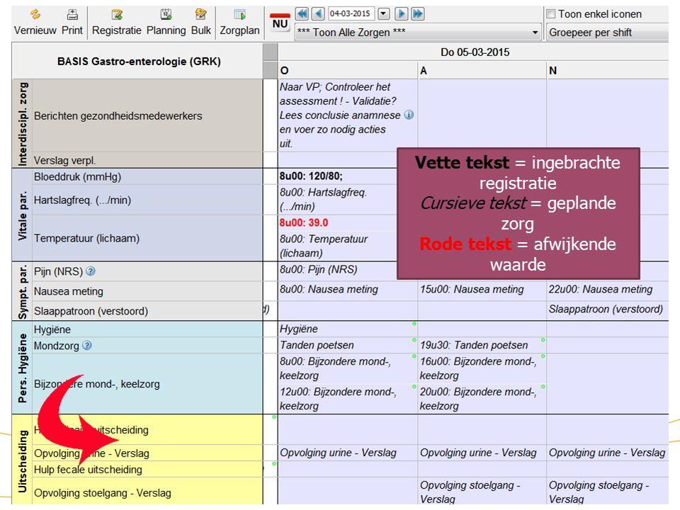 Zorgmodule (7) Vette tekst = ingebrachte registratie